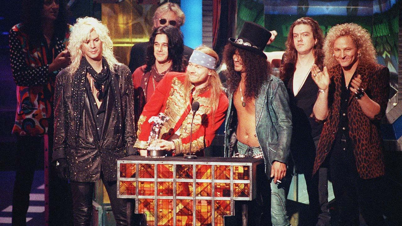 Guns N Roses accepts the Michael Jackson Video Vanguard Award for November Rain at the MTV Video Music ceremony Sept. 10, 1992 in Los Angeles.
