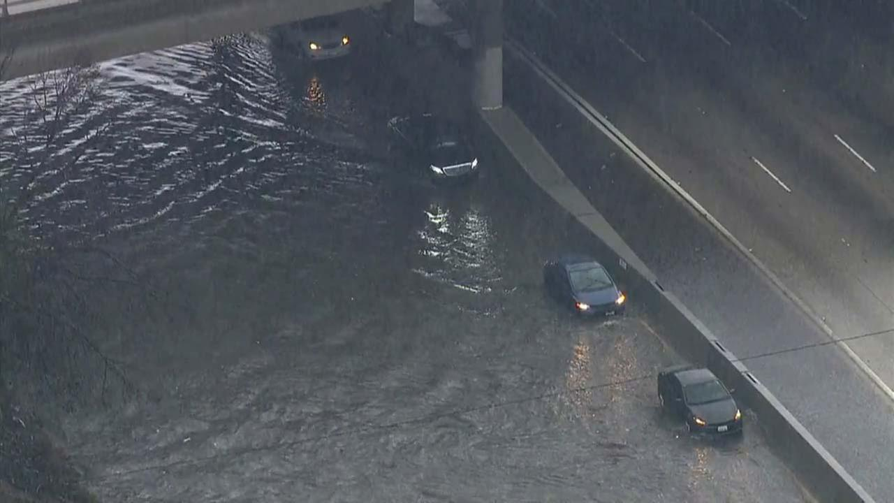 Severe flooding caused multiple lanes to close on both sides of the 5 Freeway in Sun Valley on Wednesday, Jan. 6, 2016.KABC
