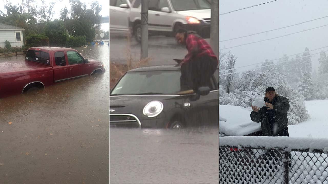 See some of the best images that captured the El Nino-powered storms that pummeled the Southland with rain and snow.
