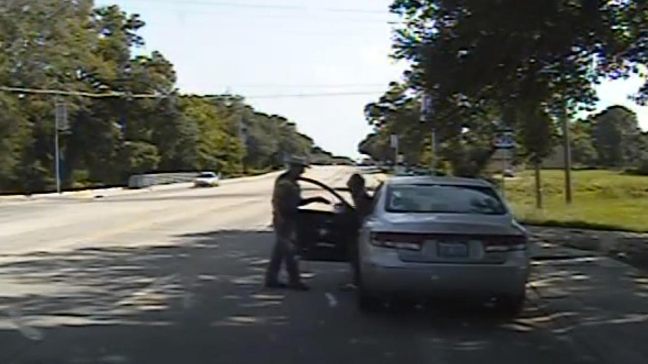 In this July 10, 2015, file frame from dashcam video, Texas State Trooper Brian Encinia confronts Sandra Bland after a minor traffic infraction in Waller County,Texas.