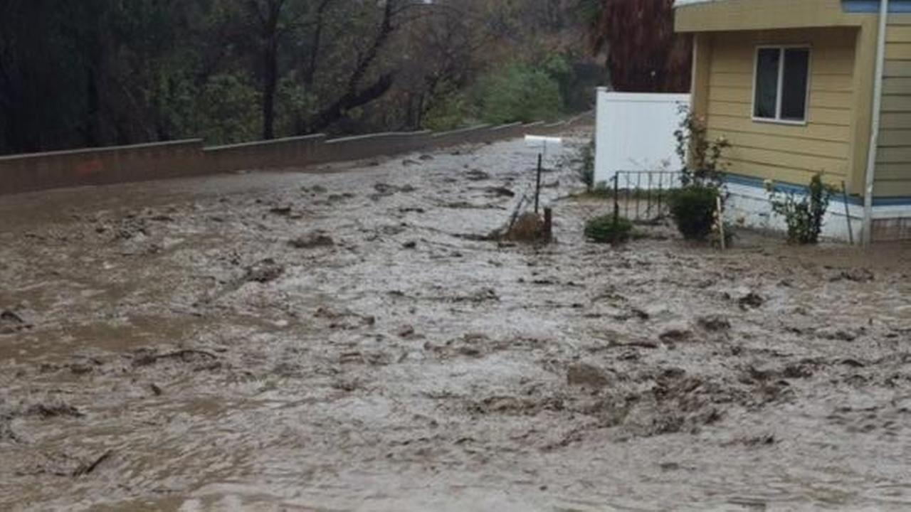 The Crescent Valley Mobile Park in Newhall was evacuated due to mudflow on Wednesday, Jan. 6, 2016.