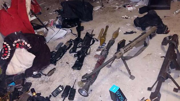 Mexican marines seized two armored vehicles, eight rifles, one handgun and a rocket-propelled grenade launcher during a raid in the city of Los Mochis that led to El Chapo.