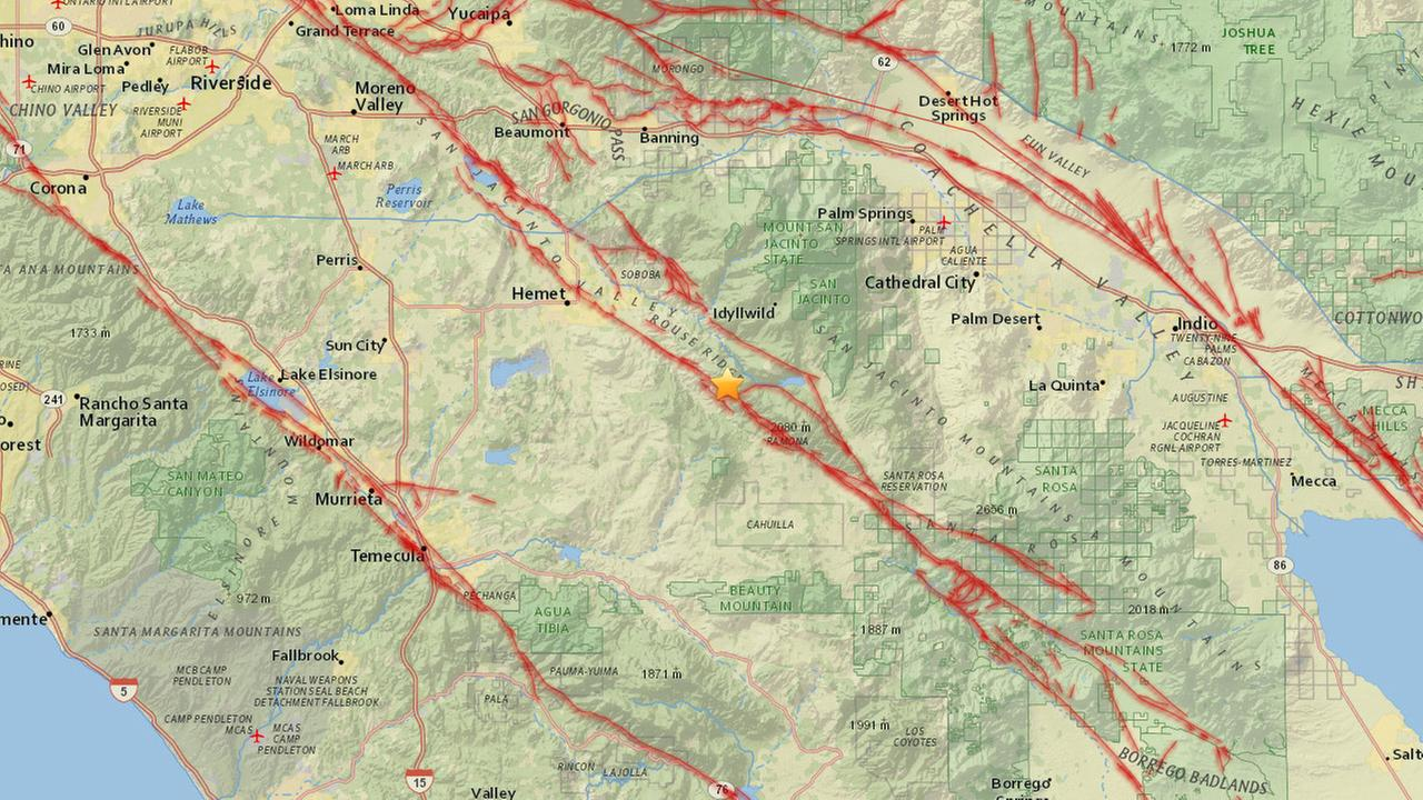 A map shows the epicenter of a 3.4-magnitude earthquake that struck near Idyllwild in Riverside County on Saturday, Jan. 9, 2016.
