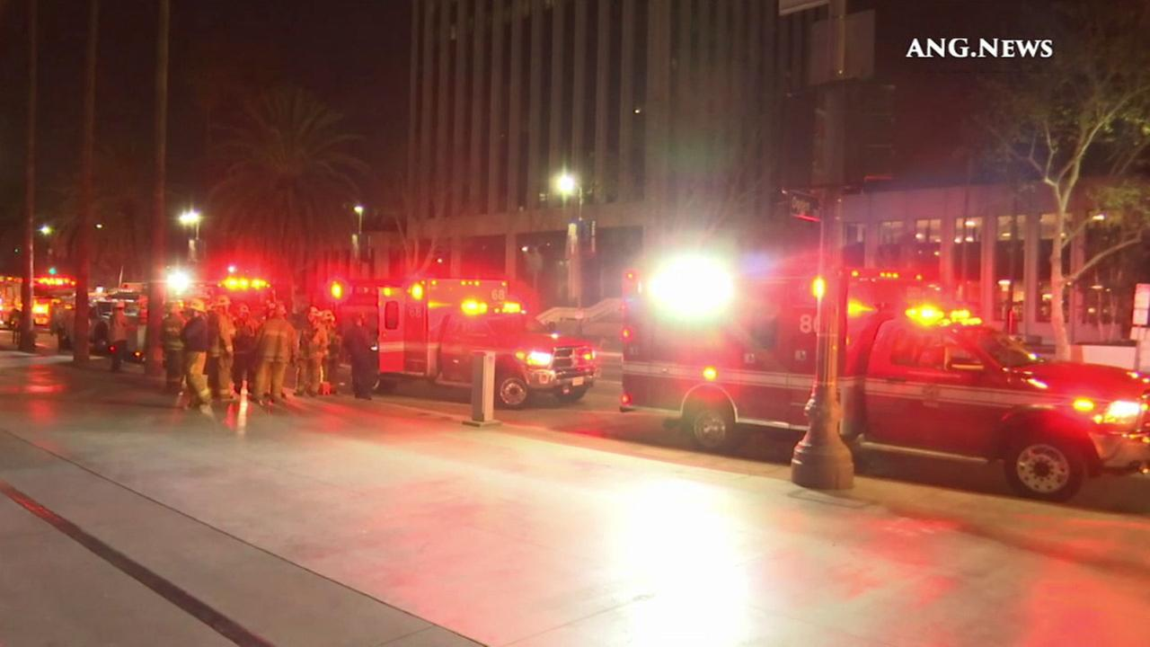 Firefighters inspect reports of an explosion at the Los Angeles County Museum of Art on Saturday, Jan. 9, 2016.