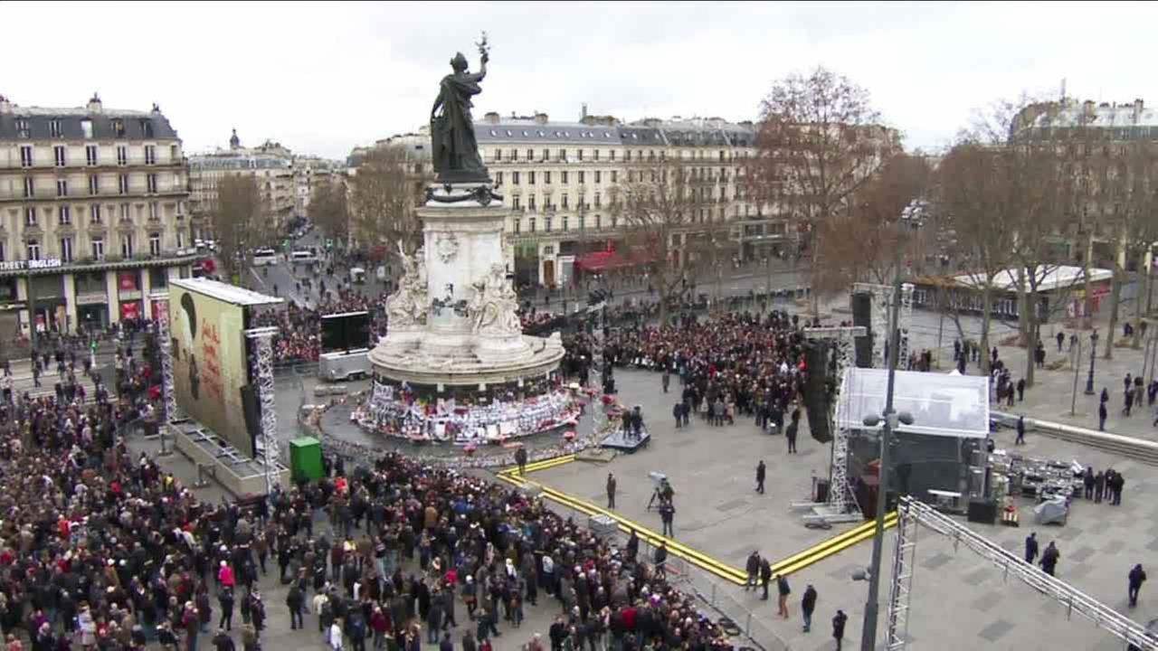 France honors victims of the Charlie Hebdo attacks at Place de la Republique on Sunday, Jan. 10, 2015.