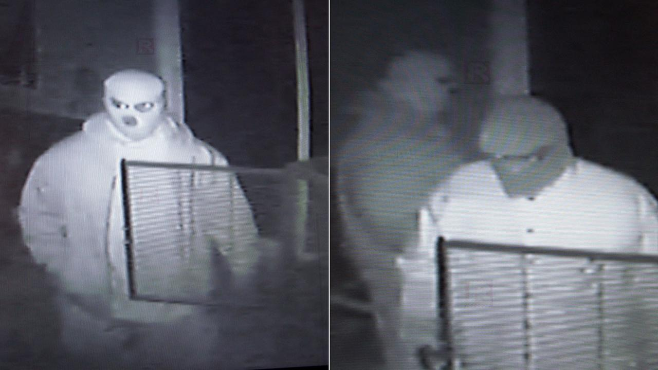 Two residential burglary suspects are seen in surveillance still images released by the San Bernardino Sheriffs Department and the Victorville Police Department.
