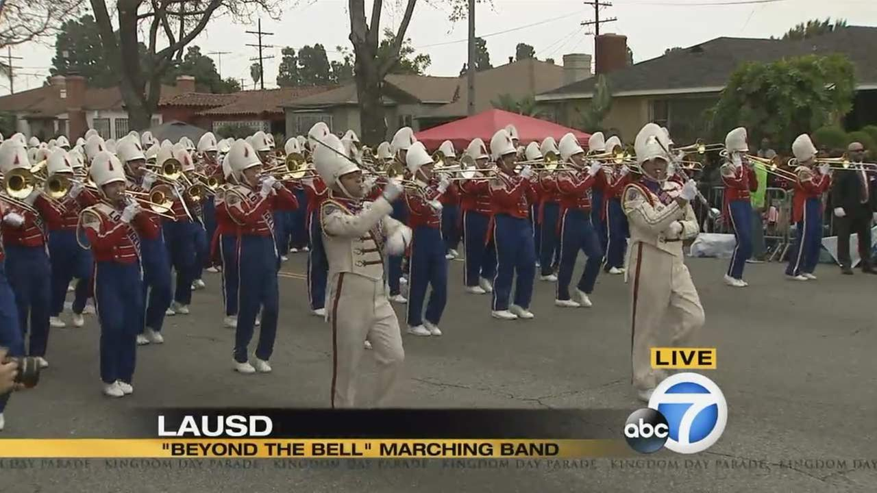 The LAUSD Beyond the Bell All-District Marching Band perform at the Kingdom Day Parade in South Los Angeles on Monday, Jan. 18, 2016.KABC