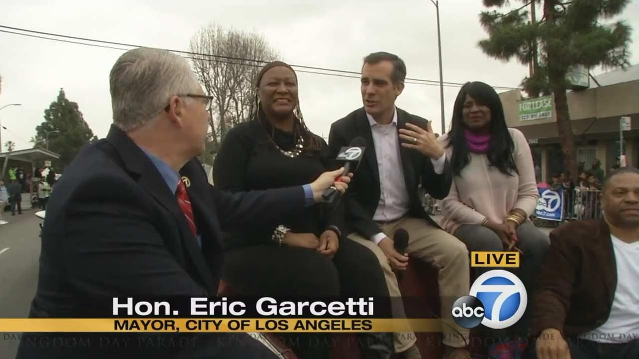 Los Angeles Mayor Eric Garcetti at the Kingdom Day Parade in South Los Angeles on Monday, Jan. 18, 2016.KABC