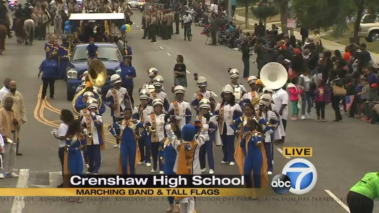 The Crenshaw High School Marching Band at the Kingdom Day Parade in South Los Angeles on Monday, Jan. 18, 2016.KABC