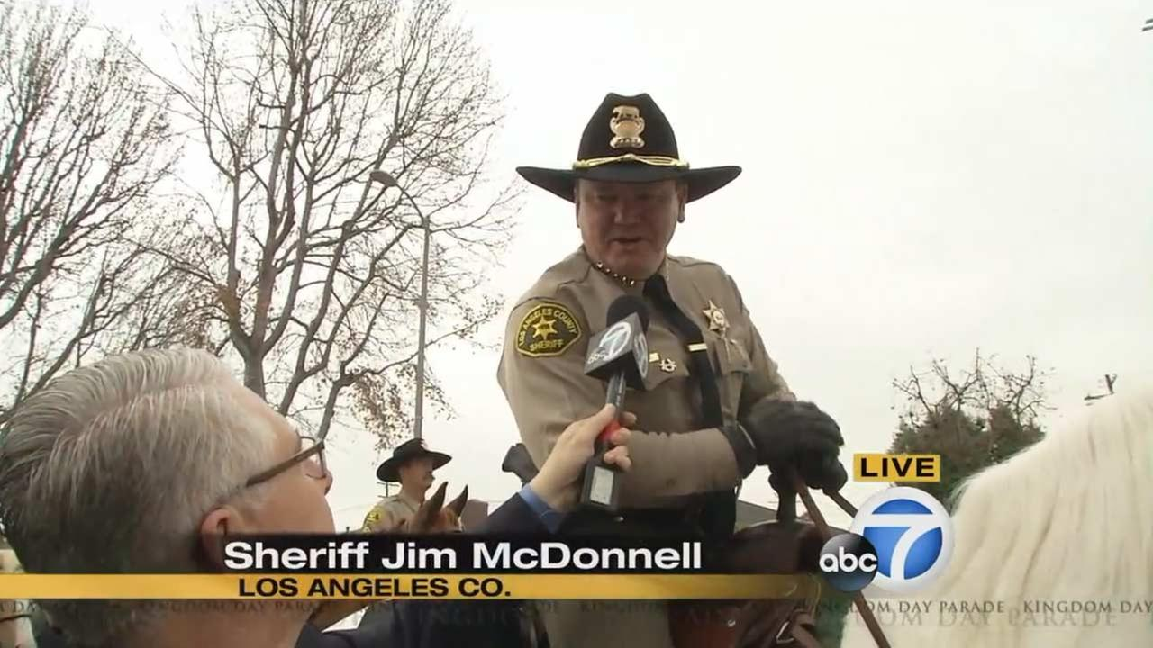 Los Angeles County Sheriff Jim McDonnell at the Kingdom Day Parade in South Los Angeles on Monday, Jan. 18, 2016.KABC