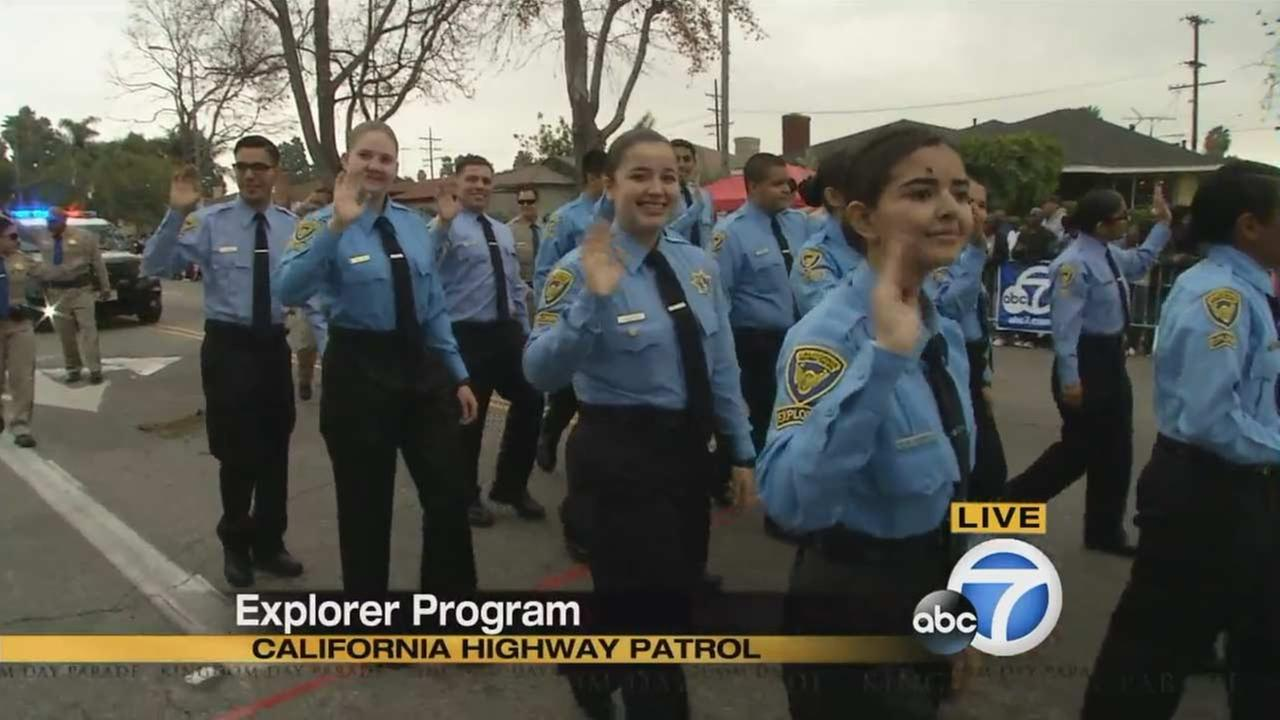 California Highway Patrol Explorers at the Kingdom Day Parade in South Los Angeles on Monday, Jan. 18, 2016.KABC
