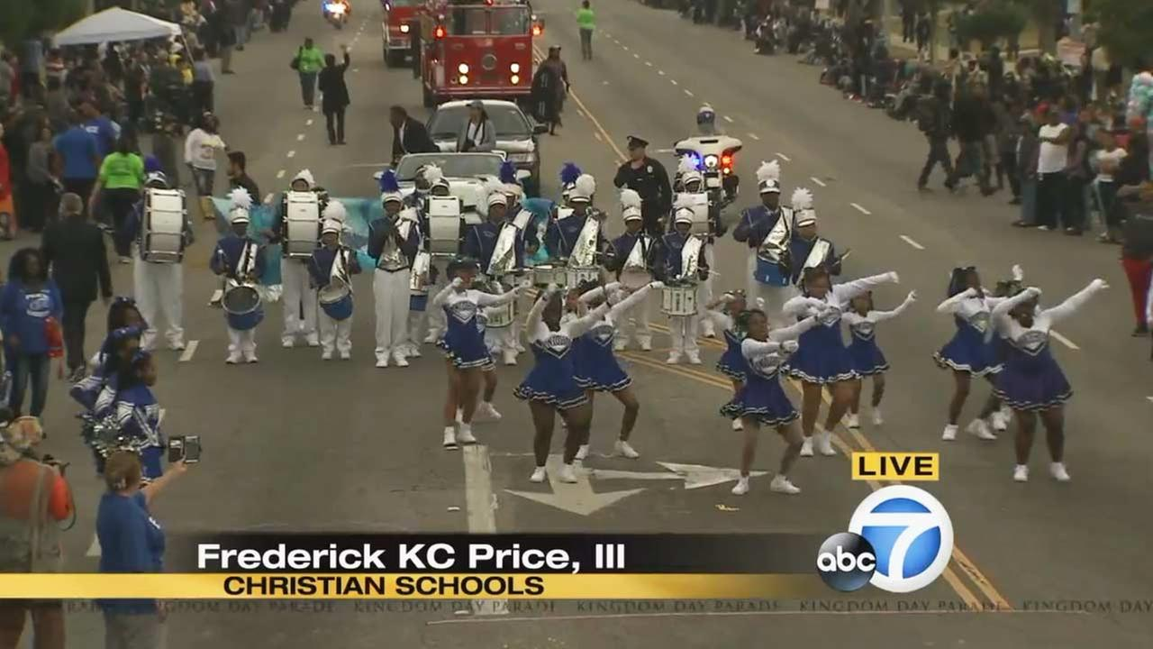 Frederick K.C. Price III Christian Schools at the Kingdom Day Parade in South Los Angeles on Monday, Jan. 18, 2016.KABC