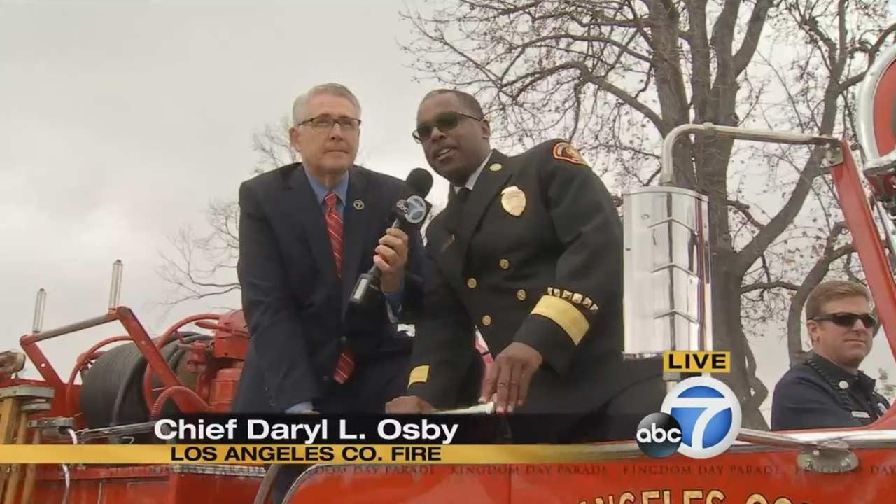 Los Angeles County Fire Department Chief Daryl Osby at the Kingdom Day Parade in South Los Angeles on Monday, Jan. 18, 2016.KABC