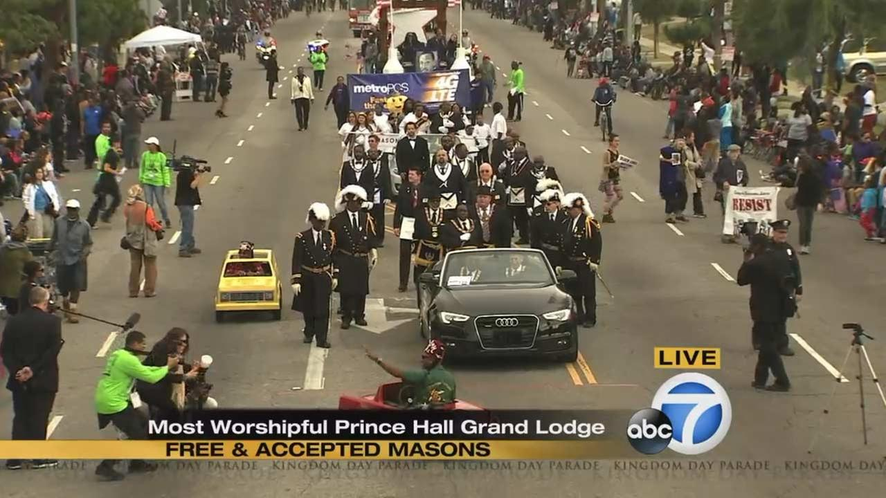 The Most Worshipful Prince Hall Grand Lodge at the Kingdom Day Parade in South Los Angeles on Monday, Jan. 18, 2016.KABC