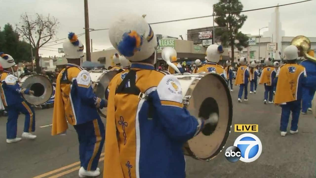 The Crenshaw High School Marching Band performs at the Kingdom Day Parade in South Los Angeles on Monday, Jan. 18, 2016.