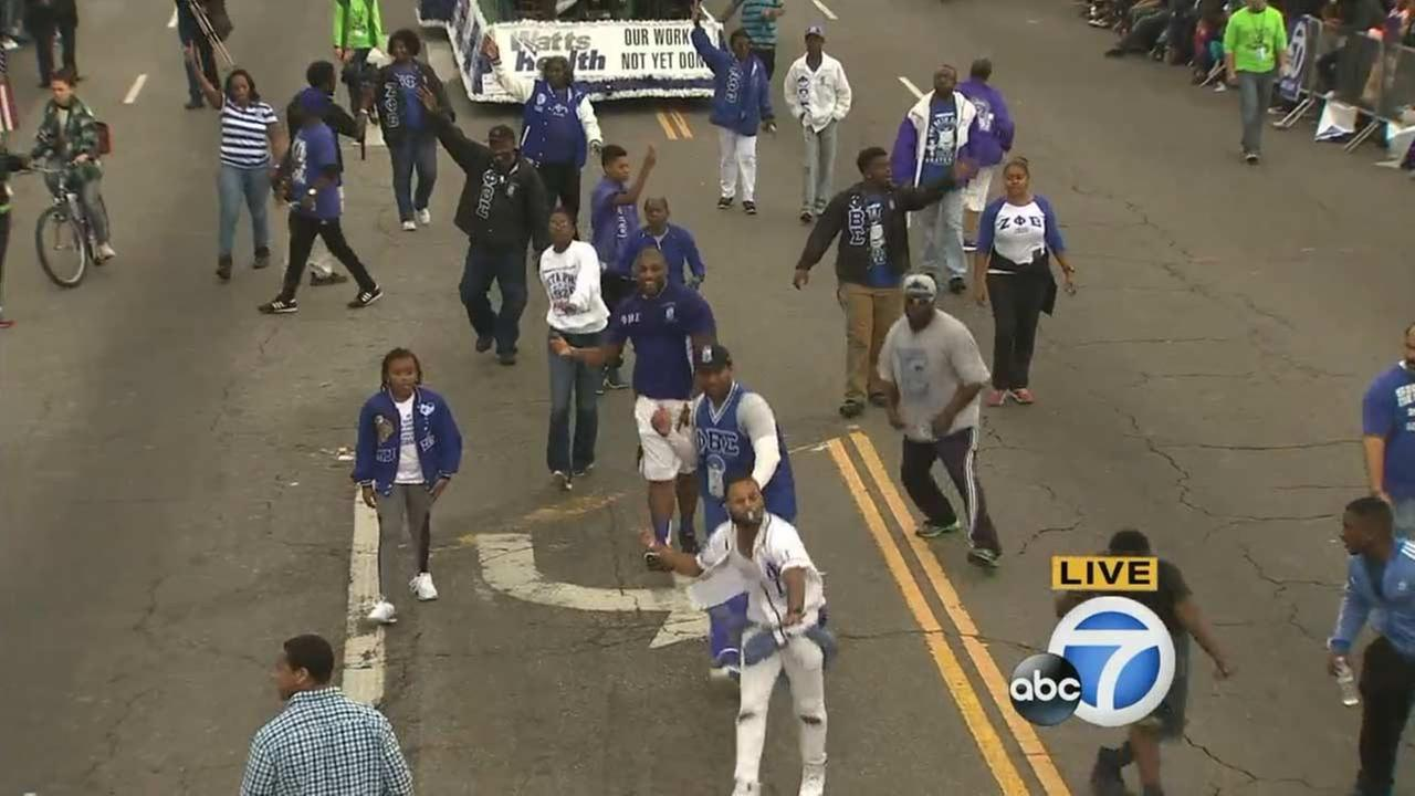 Dancers from the Phi Beta Sigma fraternity perform at the Kingdom Day Parade in South Los Angeles on Monday, Jan. 18, 2016.KABC