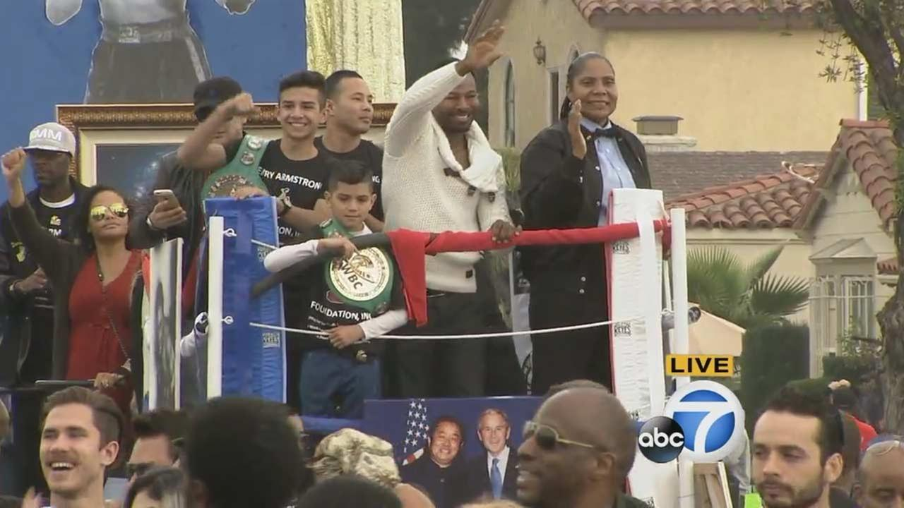 Sugar Shane Mosley with the Henry Armstrong Foundation at the Kingdom Day Parade in South Los Angeles on Monday, Jan. 18, 2016.KABC