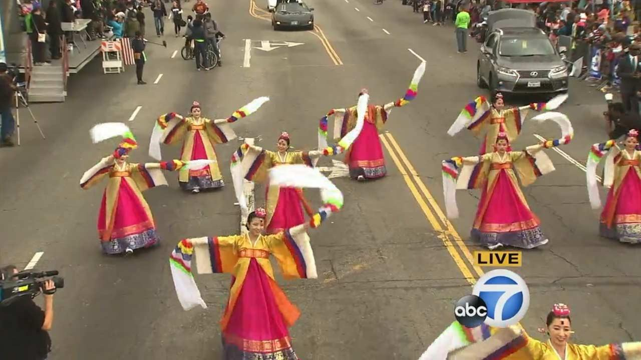 The Kim Eung Hwa Korean Dance Company performs at the Kingdom Day Parade in South Los Angeles on Monday, Jan. 18, 2016.KABC