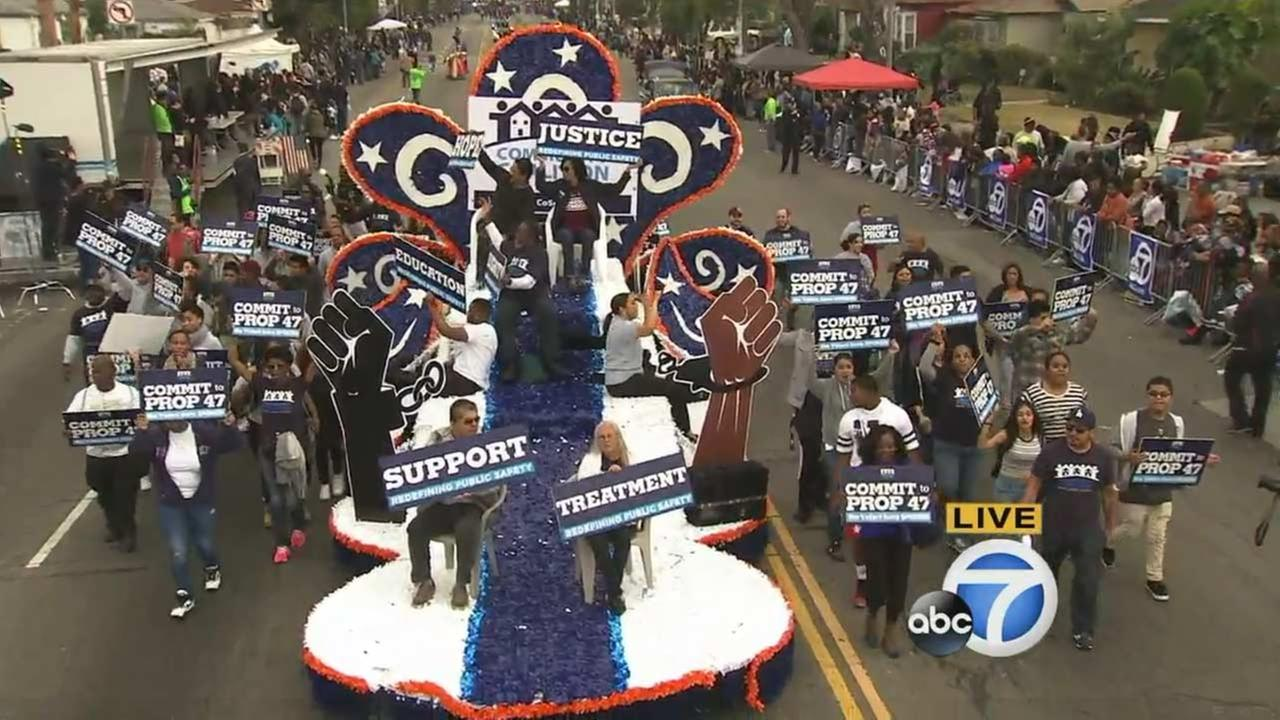 The Community Coalition at the Kingdom Day Parade in South Los Angeles on Monday, Jan. 18, 2016.KABC