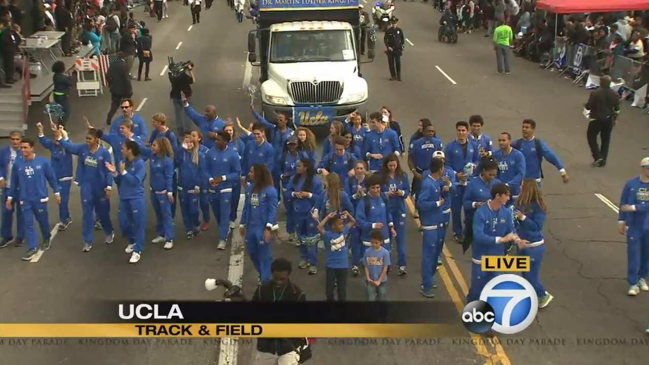 The UCLA track and field team at the Kingdom Day Parade in South Los Angeles on Monday, Jan. 18, 2016.KABC