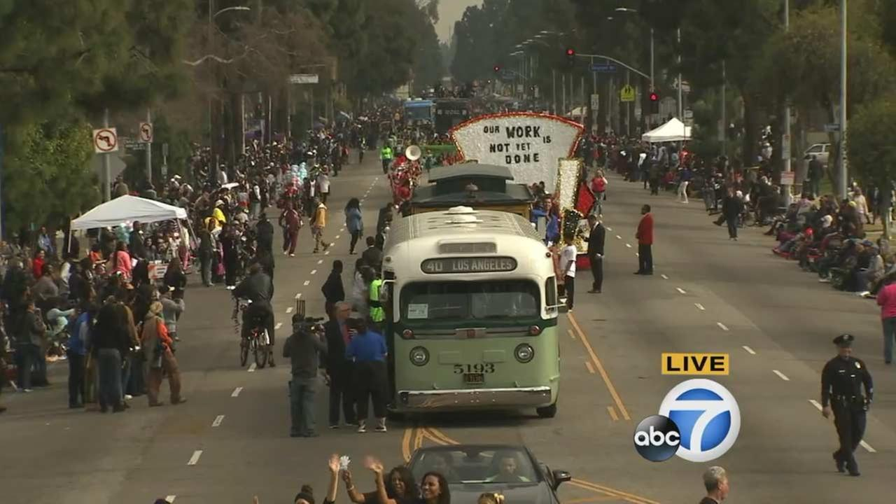 Metro created a 1950s replica of the bus ridden by Rosa Parks for the Kingdom Day Parade in South Los Angeles on Monday, Jan. 18, 2016.KABC