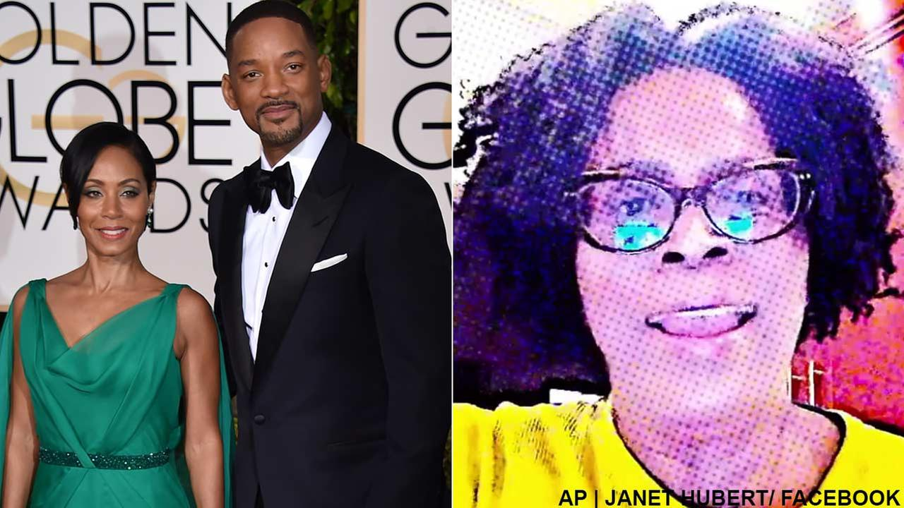 (Left) Jada Pinkett Smith and Will Smith arrive at the 73rd annual Golden Globe Awards on Sunday, Jan. 10, 2016 in Beverly Hills, Calif. (Right) Actress Janet Hubert on Facebook.