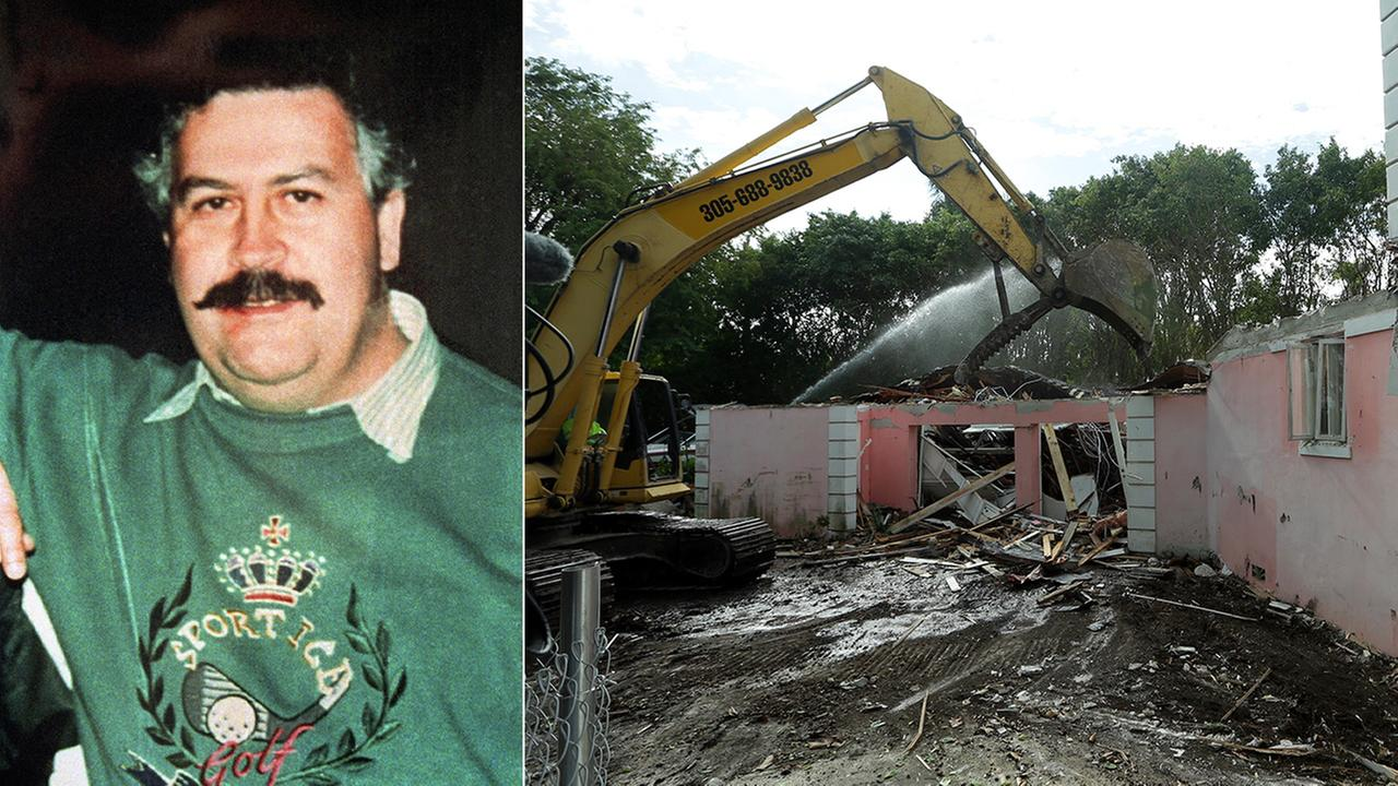Colombias cocaine lord Pablo Escobar is photographed (left). A bulldozer demolishes the waterfront mansion formerly owned by Escobar in Miami Beach, Fla. (right).