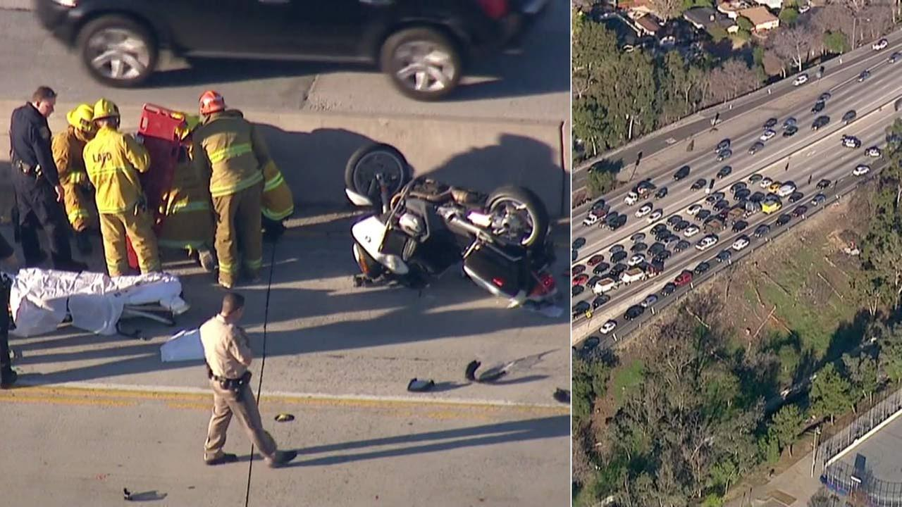 A CHP motorcycle officer was involved in a multi-vehicle crash on the northbound 170 Freeway near the Burbank Boulevard exit in North Hollywood on Monday, Jan. 26, 2016.