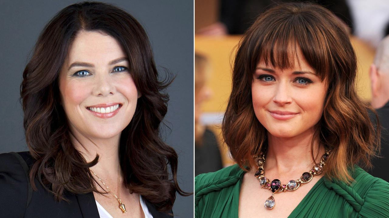 Lauren Graham, who played Lorelai Gilmore in the hit show Gilmore Girls, is shown alongside a photo of Alexis Bledel, who played her daughter Rory Gilmore.
