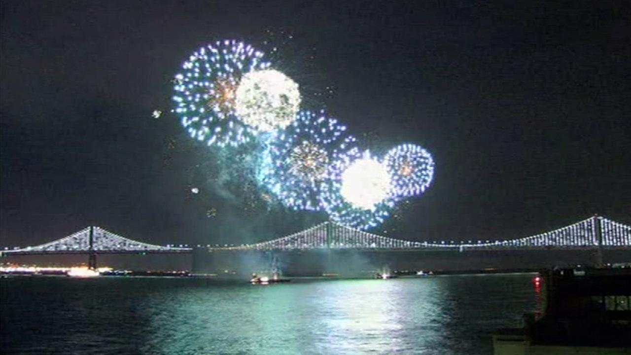 The Macys Fireworks Show celebrated the opening of Super Bowl City and return of the Bay Lights to the Willie L. Brown Jr. Bay Bridge in San Francisco on Saturday, Jan. 30, 2016.