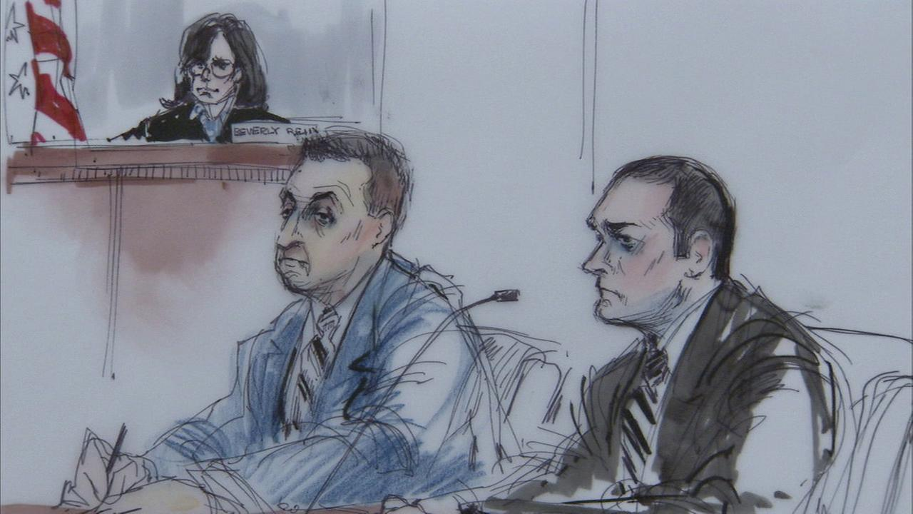 Los Angeles County sheriffs deputies Joey Aguiar and Mariano Ramirez, seen in this court sketch, were acquitted of conspiracy in their use-of-force case on Tuesday, Feb. 2, 2016.