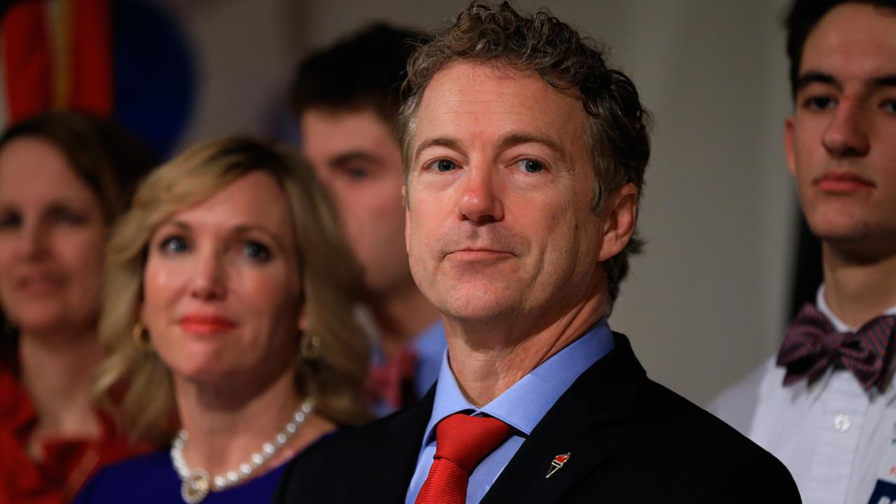 Republican presidential candidate, Sen. Rand Paul, R-Ky, waits to speaks to supporters during a caucus night victory party in Des Moines, Iowa, Monday, Feb. 1, 2016.