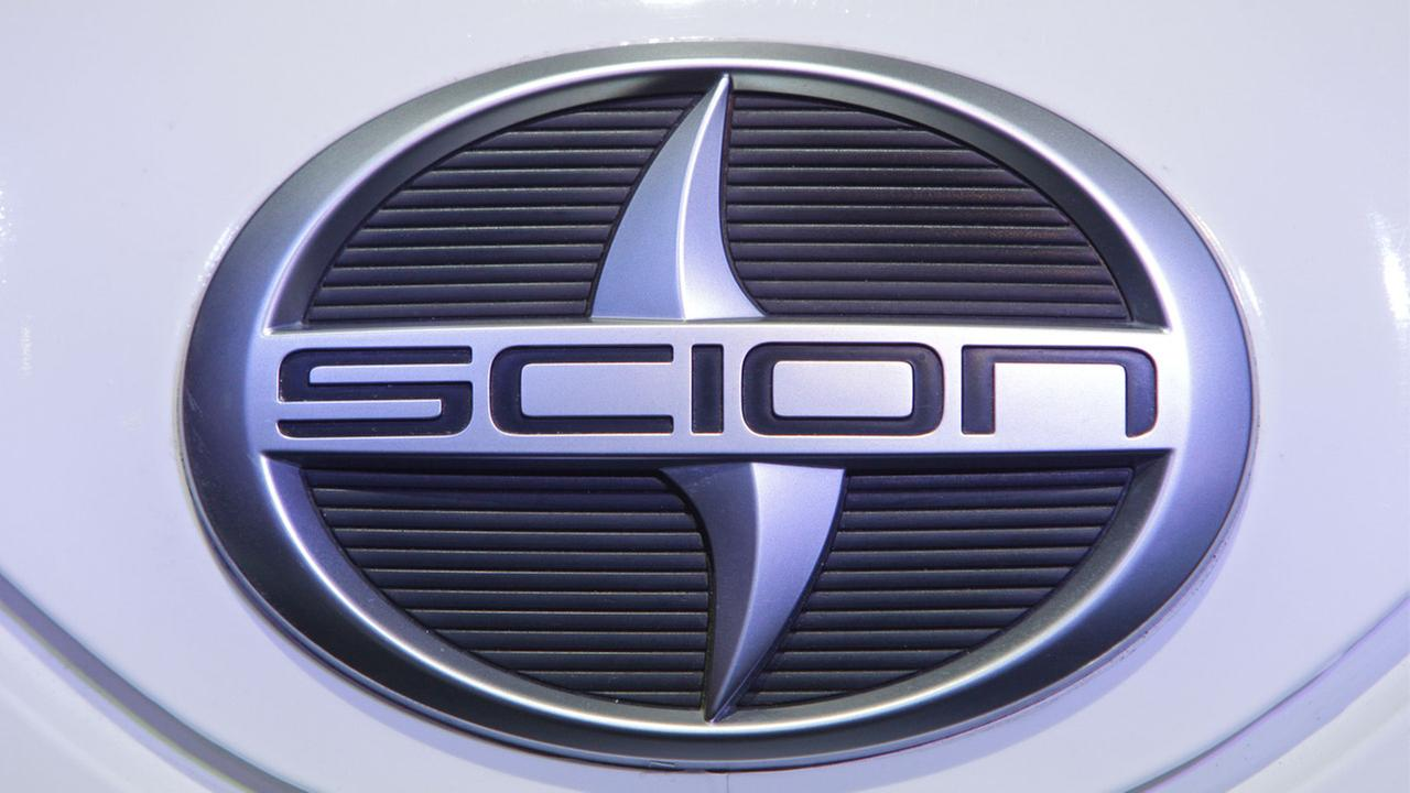 A Scion logo is seen at the North American International Auto Show in Detroit, Tuesday, Jan. 11, 2011.