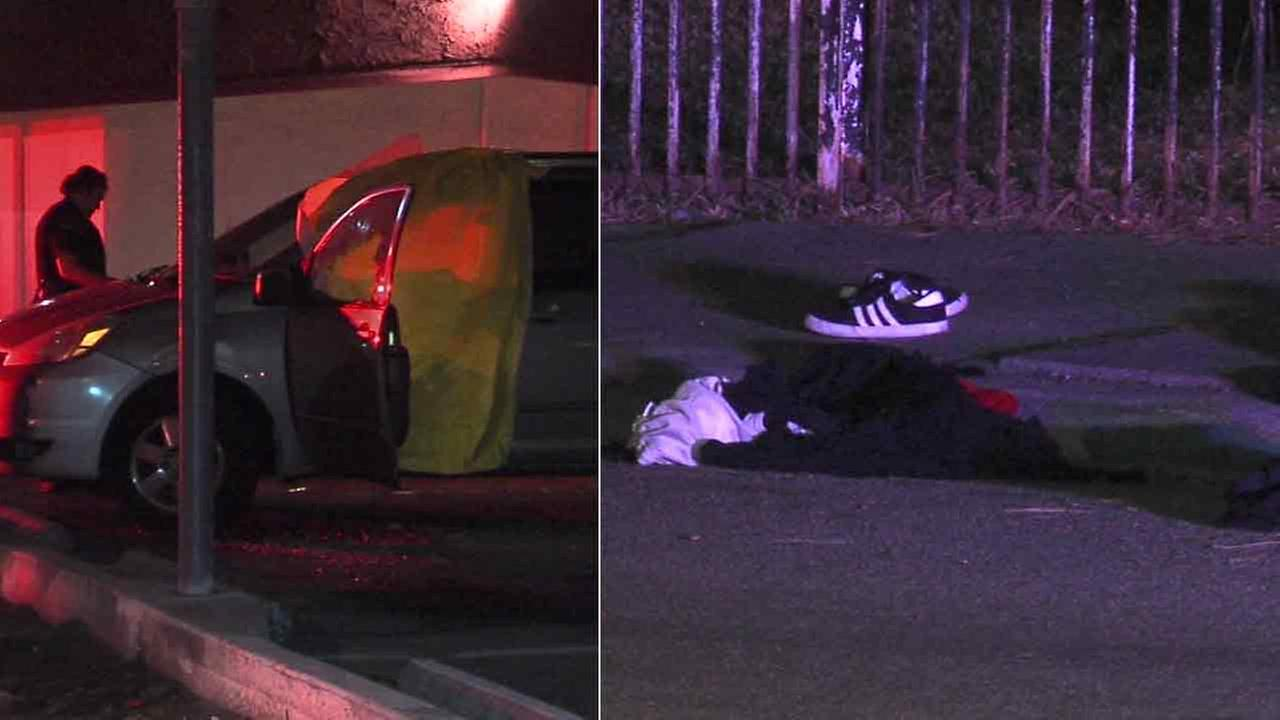 A man was found dead inside a minivan (left) less than a mile away from a shooting that left two teens injured in Pomona (right) early Thursday, Feb. 4, 2016.