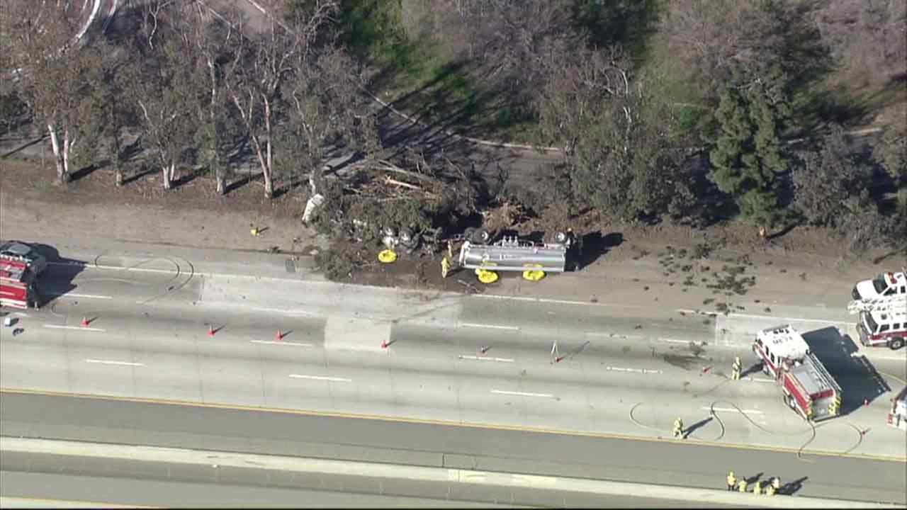 Both directions of the 10 Freeway were shut down in Fontana on Thursday, Feb. 4, 2016, due to an overturned fuel tanker truck.