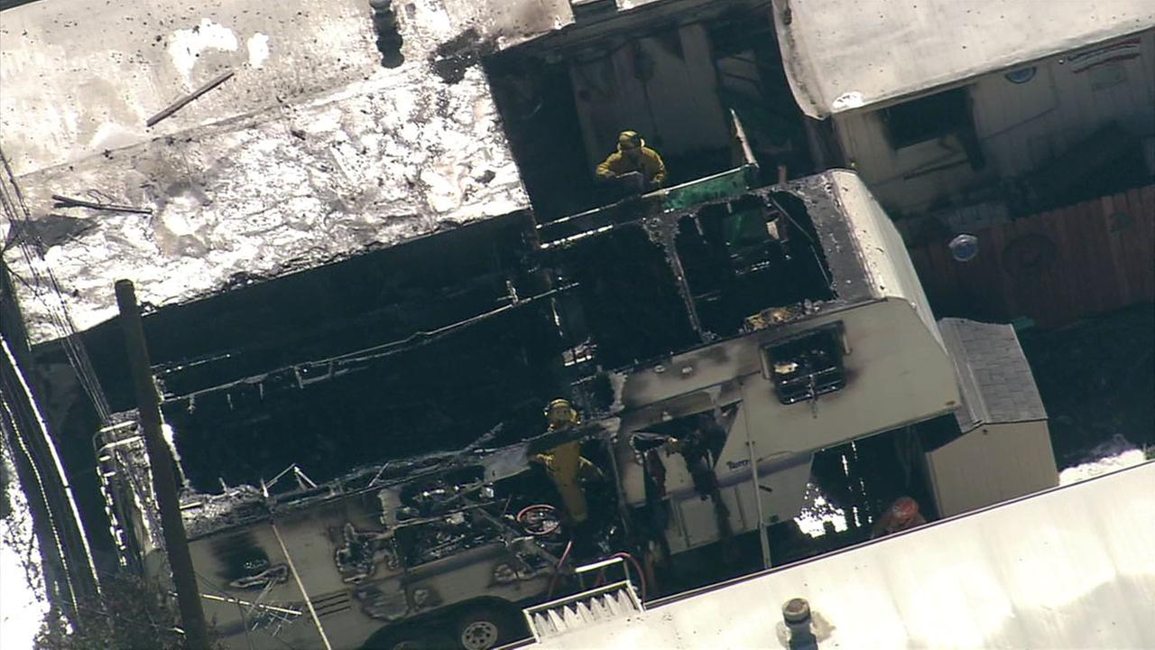 A body was found after a fire in a Glendora trailer park.