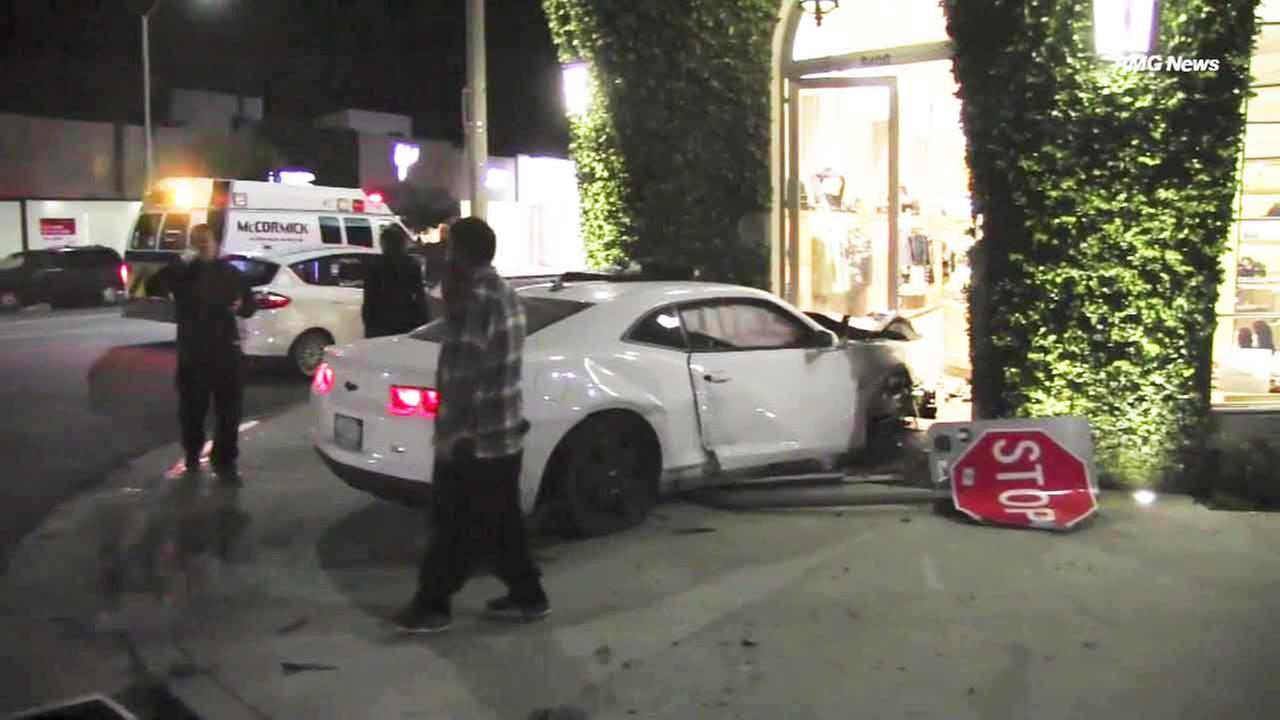 An alleged drunk driver was arrested for impaired driving after he crashed through the front glass door of the iconic Marc Jacobs store in West Hollywood early Sunday.