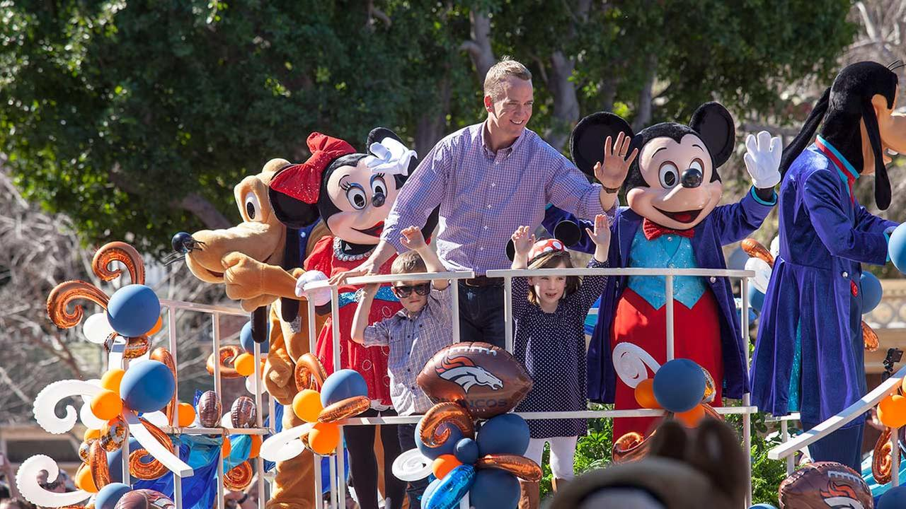 In honor of the Denver Broncos victory at Super Bowl 50, the Disneyland Resort saluted quarterback Peyton Manning with a parade down Main Street, U.S.A. on Feb. 8, 2016.