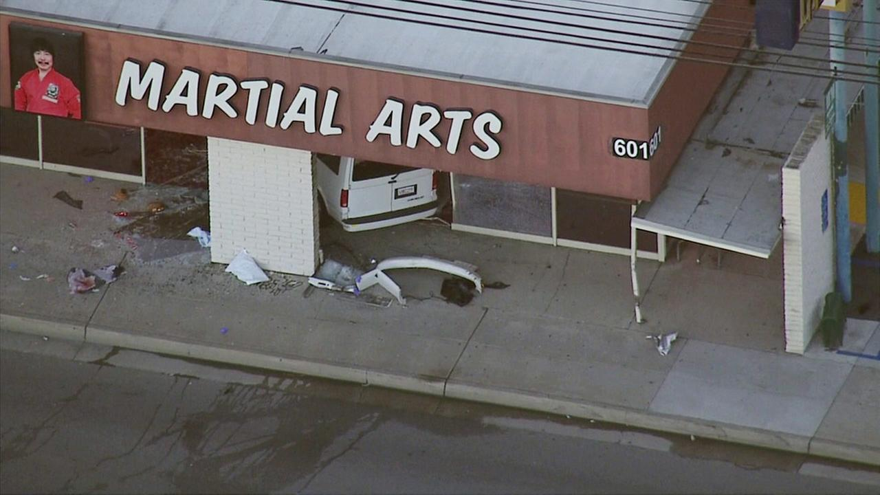 A van slammed into a martial arts studio in Fullerton on Tuesday, Feb. 9, 2016.