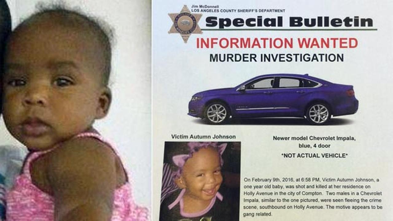 Autumn Johnson, 1, was killed in a gang-related shooting, according to the Los Angeles County Sheriffs Department on Tuesday, Feb. 9, 2016.