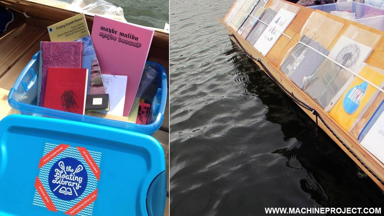 Photos from www.machineproject.com show the floating library in Echo Park.