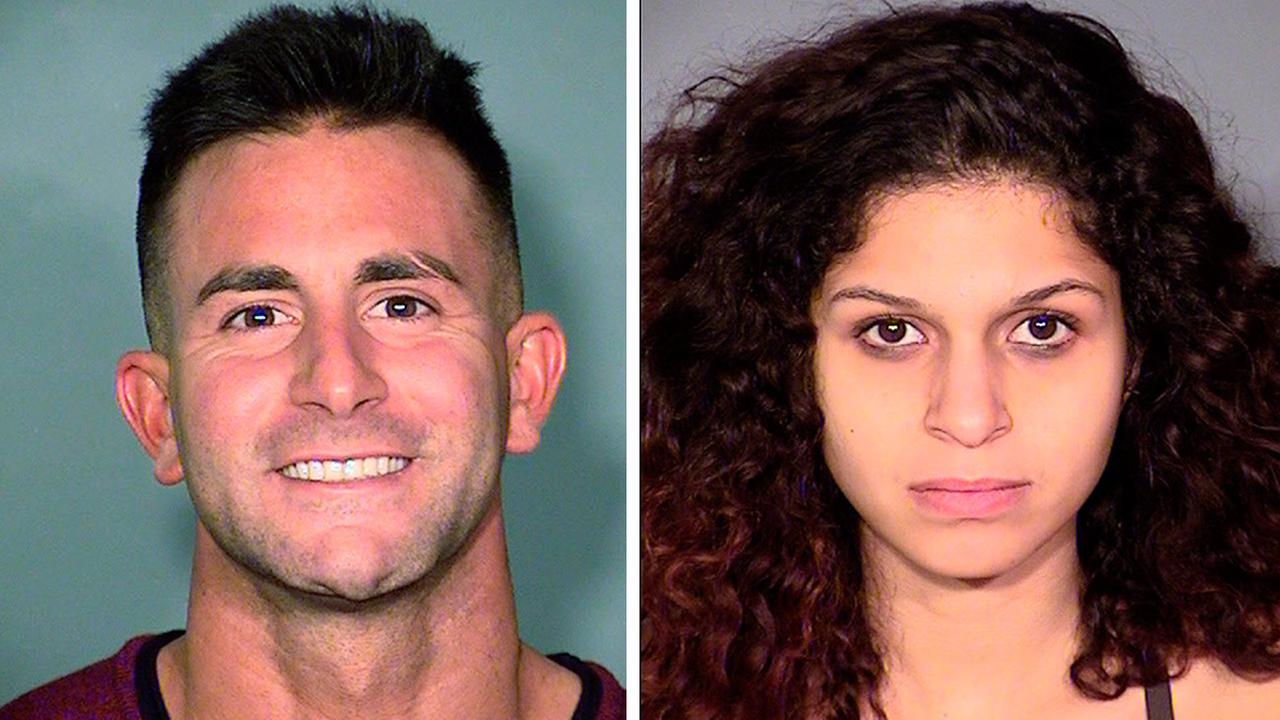 Las Vegas police said Phillip Frank Panzica III (left), of Houston, and Chloe Scordianos (right), of New York, were arrested for committing sex acts in public on Feb. 5.