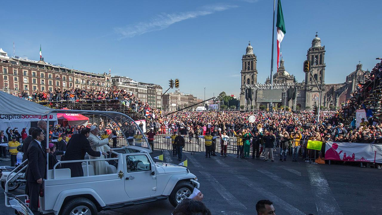 Pope Francis arrives at Mexico Citys main square, the Zocalo, Saturday, Feb. 13, 2016.