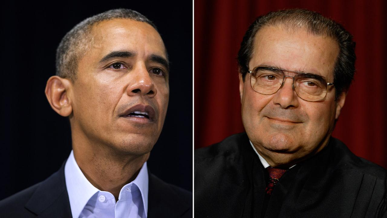 President Barack Obama is shown alongside an file image of U.S. Supreme Court Associate Justice Antonin Scalia.