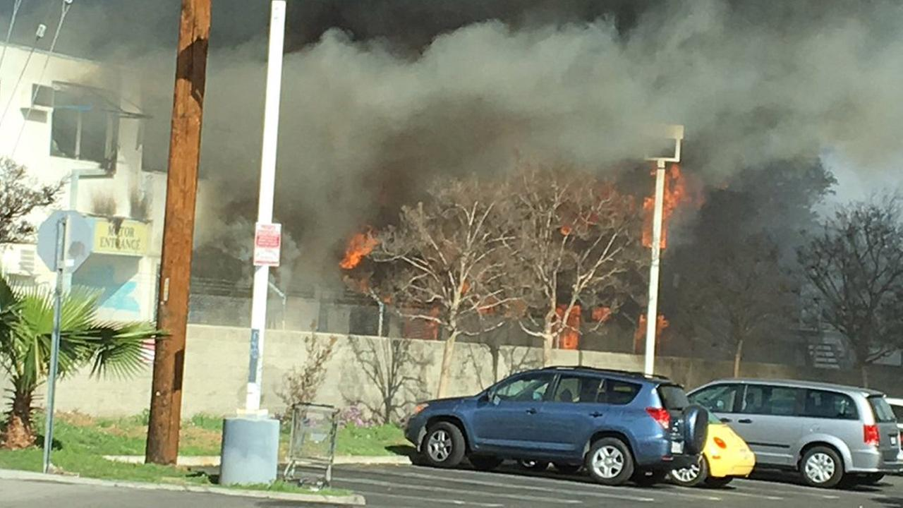 ABC7 viewer Jon Sklaroff captured photos of the flames erupting from a building in Van Nuys on Sunday, Feb. 14, 2016.