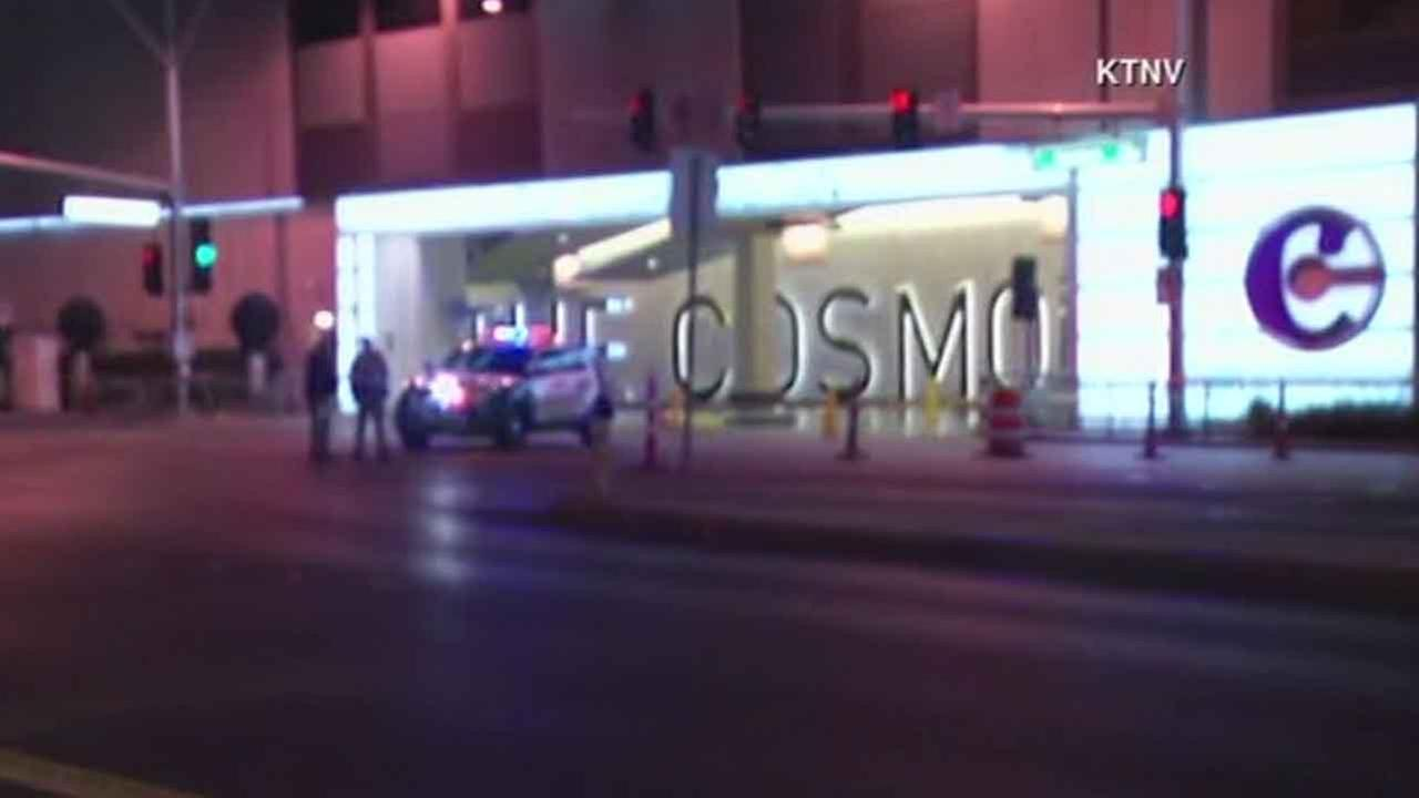 Las Vegas police respond to The Cosmopolitan hotel-casino to investigate a fatal car-to-car shooting Friday, Feb. 19, 2016.