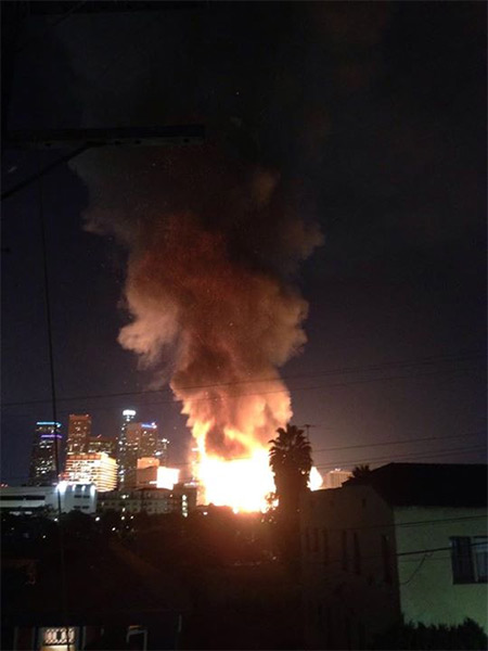 <div class='meta'><div class='origin-logo' data-origin='none'></div><span class='caption-text' data-credit='ABC7 viewer Eden Khun'>ABC7 viewer Eden Khun shared this photo of the fire in downtown Los Angeles using #ABC7Eyewitness on Monday, Dec. 08, 2014.</span></div>