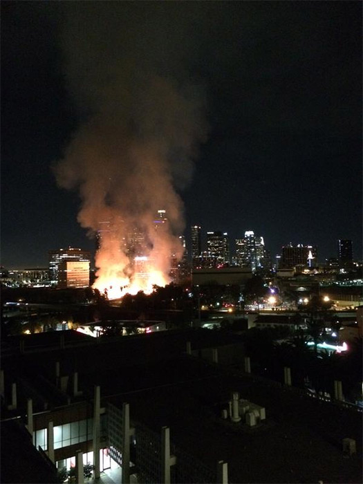 <div class='meta'><div class='origin-logo' data-origin='none'></div><span class='caption-text' data-credit='ABC7 viewer @jrobertmiles'>ABC7 viewer @jrobertmiles shared this photo of the fire in downtown Los Angeles using #ABC7Eyewitness on Monday, Dec. 08, 2014.</span></div>