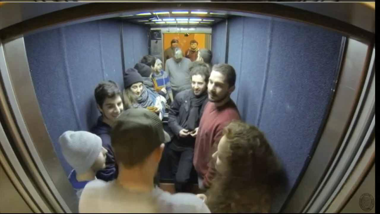 Actor Shia Labeouf takes a 24-hour elevator ride in the name of art at at Oxford University on Friday, Feb. 19, 2016.