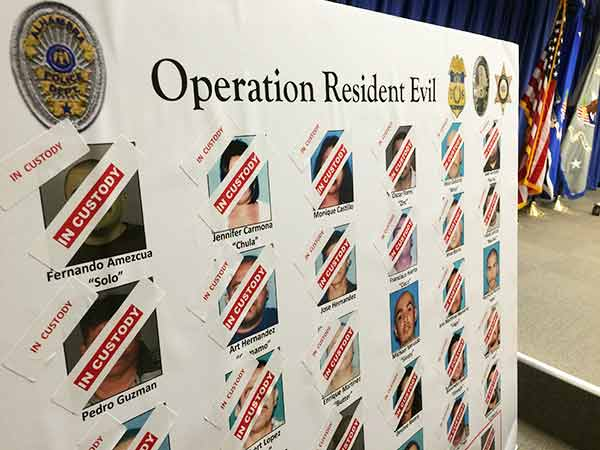 of a large gang sweep in East Los Angeles on Wednesday, Dec. 10, 2014